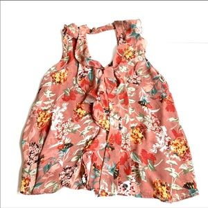 Sun & shadow floral tank blouse tie xtra small